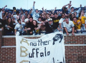 "Buff fans celebrate the ""Miracle at Michigan"""