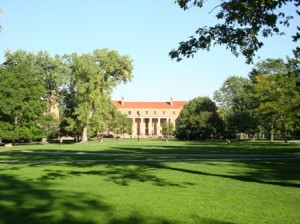 The Quad, looking towards Norlin Library, CU campus