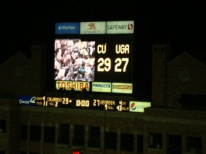 The scoreboard says it all - Colorado 29, Georgia 27!