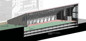 Cross-section of the new practice facility