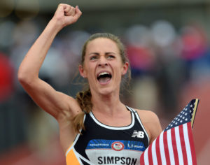 Jul 10, 2016; Eugene, OR, USA; Jenny Simpson reacts after competing in the the women's 1500m finals in the 2016 U.S. Olympic track and field team trials at Hayward Field. Mandatory Credit: Glenn Andrews-USA TODAY Sports